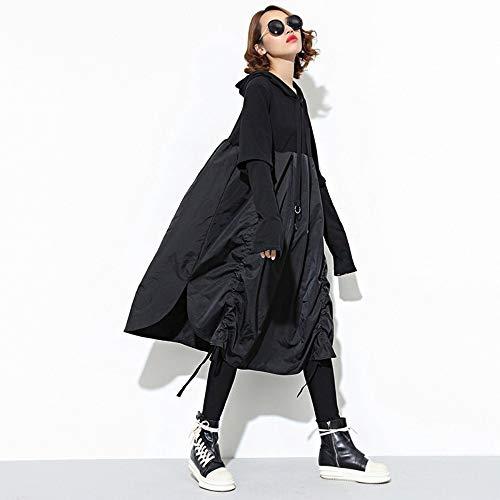 OYHDWQF Kleider New Spring Hooded Long Sleeve Drawstring Black Fold Split Joint Loose Long Dress Women Fashion Tide,one Size -