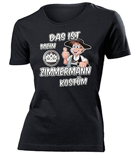 love-all-my-shirts Das ist Mein Zimmermann Kostüm 4986 Damen T-Shirt (F-SW) Gr. S (Zimmermann Kostüme)