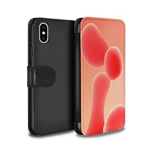 Stuff4 Coque/Etui/Housse Cuir PU Case/Cover pour Apple iPhone X/10 / Violet Design / Lampe à Lave Collection Rouge