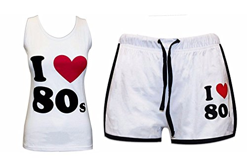 I LOve the 80s Women's Shorts and Vest Top Fitness Set