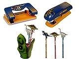 T-Rex World Die Spiegelburg 4-teiliges Schulschreib-Set 14568 14569 14502 142470 Papierlocher + Papierhefter + Stifteköcher T-Rex + Toper-Bleistift