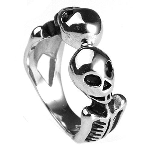 BeyDoDo Modeschmuck Edelstahlring Herren Ring Edelstahl Alien Totenkopf Schädel Männerring Silber Ringgröße 60 (19.1)