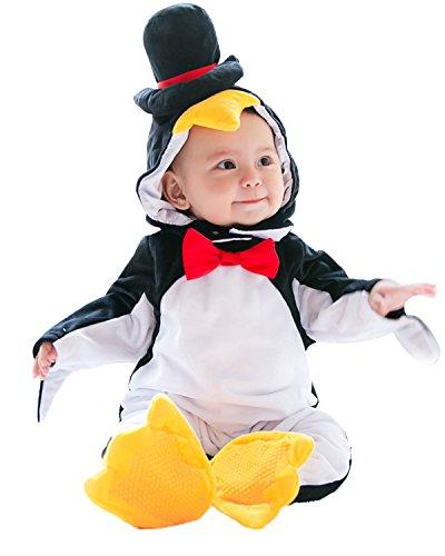Kidsform Baby Unisex Weihnachten Halloween Langarm Outfits Jumpsuit Playsuit Strampler Winteroverall Pinguin 12-18Monate