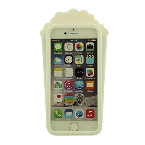 Schutzhülle iPhone 6 Hülle, Mode Originale Popcorn Gestalten Entwurf Weich Silikon Case Hülle für Apple iPhone 6 / 6S 4.7 inch mit 1 Stylus-Stift schwarz