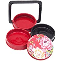 Preisvergleich für Odoria 1/12 Miniatur Geschirr Japanische 3 Etagen Holz Bento Brotdose Rot Für Puppenhaus Küche Zubehör