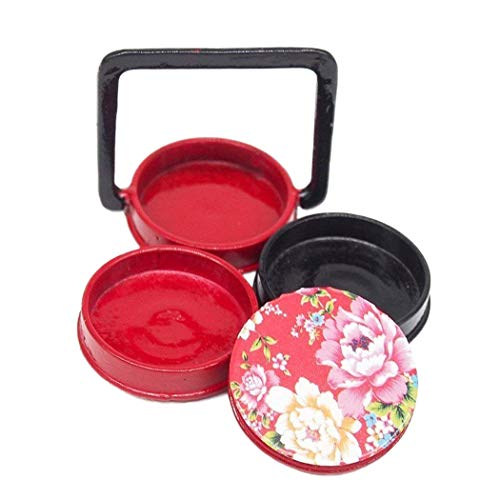 Odoria 1/12 Miniatur Geschirr Japanische 3 Etagen Holz Bento Brotdose Rot Für Puppenhaus Küche Zubehör (Der Japanische Spielzeug-küche)