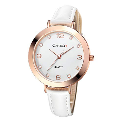 Comtex Damen Uhr Analog Quarz mit Leder Armband Z140134-W