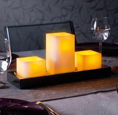 Britesta Feng-Shui-Dekoration: LED-Echtwachskerzen auf Holztablett von Britesta bei Lampenhans.de