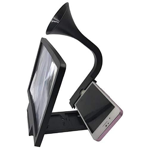 Faltbare 3D-Smartphone-Bildschirm Magnifier Phone Stand mit Horn, Schwarz