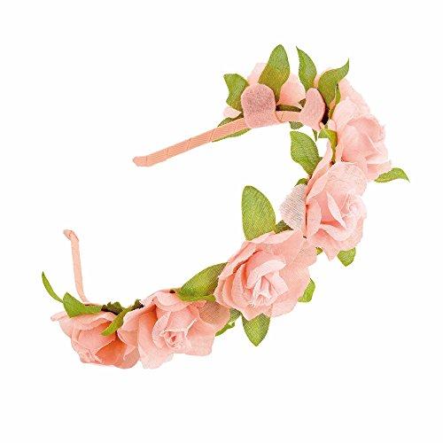 GIZZY Girls, Blümchen mit grünen Blättern, Haarreif, perfekt für Brautjungfern, Blumen-Mädchen