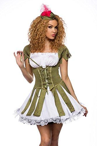 Robin-hood costume di carnevale da mini vestito corsagenoptik verde-bianco xs-m