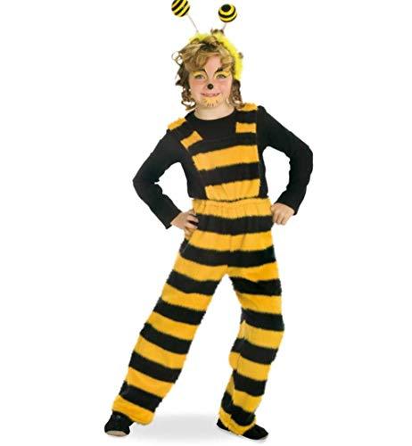 KarnevalsTeufel Kinderkostüm-Set Biene Latzhose und Haarreif mit Federn in schwarz-gelb Wabbles Hose Bienchen Verkleidung - Honig Biene Kostüm Set