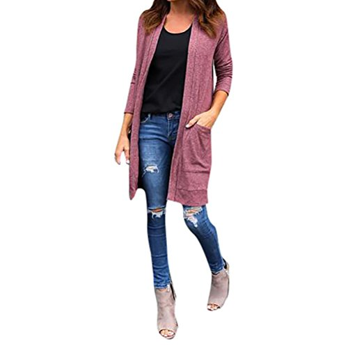 Strickmantel Front Shirt (Sannysis Frauen 2017 Winter Langarm Lang Mantel Outwear Open Front Jacke (M, Rosa))