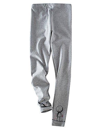 Leggings Femme Chaud Epaissie Longue Legging Extensible Elastiqué Uni Impression Pantalon Gris clair