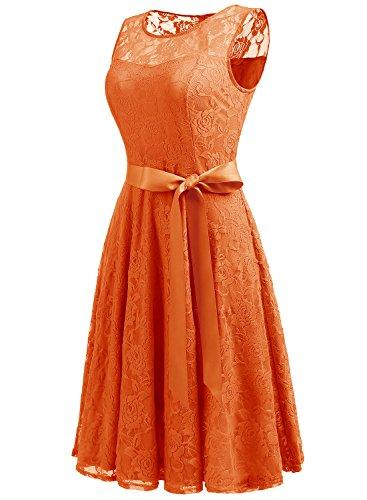 Dressystar AbendKleid Ärmellos Kurz Brautjungfern Kleid Spitzen Rundhals Damen Kleider Orange