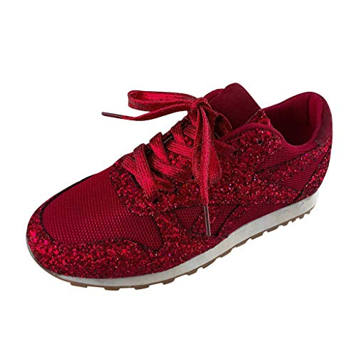 Dorical Damen Pailletten Glitzer Sneaker Frauen Elegant Laufschuhe Outdoor Freizeitschuhe Sportschuhe Stoffschuhe Atmungsaktiv Schnürschuhe Gr 36-43(Rot,42 EU)