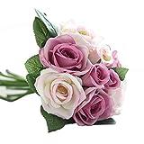 UEVOS Artificielle Fausse Élégante Fleur Romantique éternelle Soie Fleurs Feuille Rose Mariage Bouquet De Décor Floral(1* Bouquet 9 Têtes )...