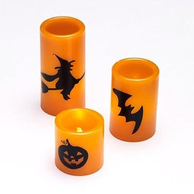 3er Set LED Halloween Echtwachskerzen orange von Lights4fun - Lampenhans.de