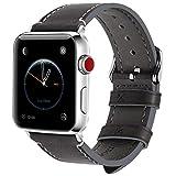 FullmosaBracelet Compatible avec Apple Watch 38mm 42mm pour Homme Femme,8Couleurs WaxBraceletCuir pouriWatch Série3,2,1, Gris + Boucle argenté, 42mm