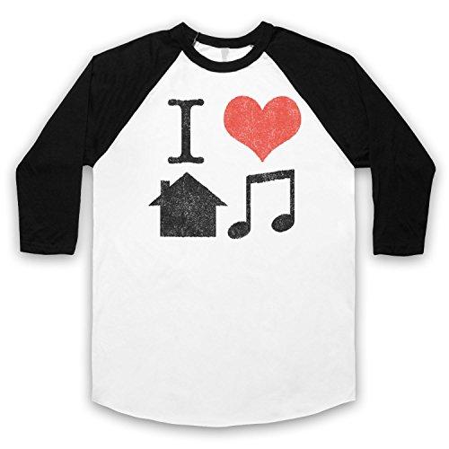 I Love House Music Slogan 3/4 Hulse Retro Baseball T-Shirt Weis & Schwarz