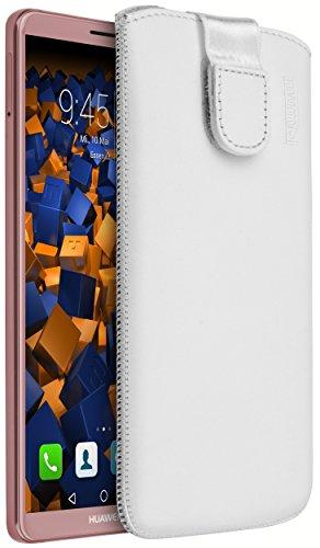 mumbi ECHT Ledertasche für Huawei Mate 10 Pro Tasche Leder Etui weiss (Lasche mit Rückzugfunktion Ausziehhilfe)