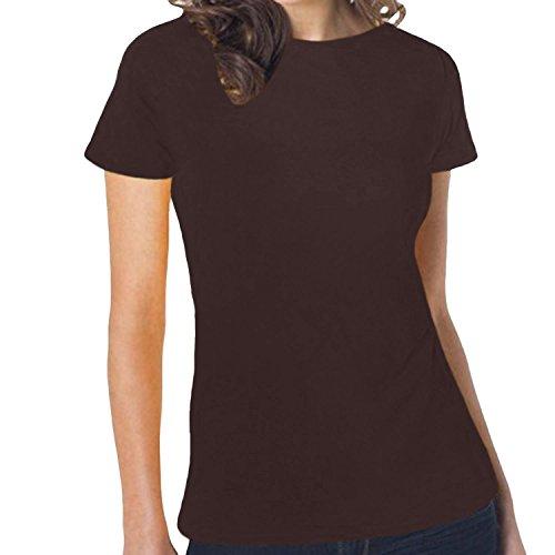 hanes-t-shirt-maniche-corte-donna-marrone-marrone