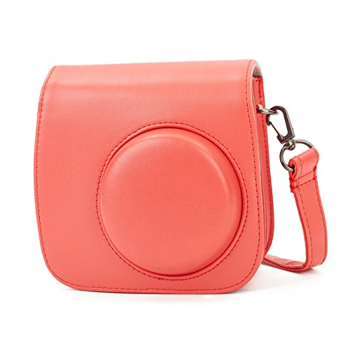 Leebotree Tasche für Fujifilm Instax Mini 8 8+/Mini 9 Sofortbildkamera aus Weichem Kunstleder mit Schulterriemen und Tasche (Rot)