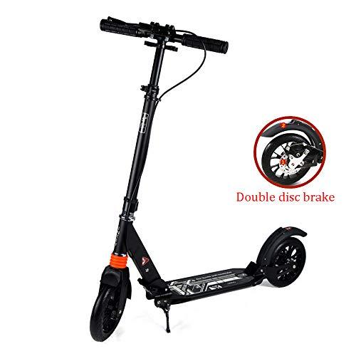 HYGLPXD Leichter City Push Kick Roller für Erwachsene mit Großen 200-mm-Rädern, City Comfort Federung, Klapprahmen Leichtes Aluminium zum Tragen, Upgrade des Scheibenbremssystems,Black