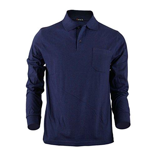 BCPOLO Herren Sportswear Polo-T-Shirt mit hochwertigem Seiden 100% Baumwolle Golfbekleidung-navy L (Langarm-uniformhemd Blau)