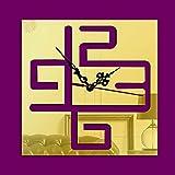 Oudan Orologio da Parete in Argento a Specchio a Forma Quadrata 3D Orologio da Parete Decorativo in Acrilico con Decorazione Camera da Letto, MirrorGold (Colore : Mirrorgold)