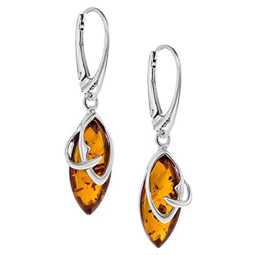 Copal Damen Ohrringe Bernstein Sterlingsilber 925 Natur Braun Tropfen Hängend Geschenkbox Originelle Geschenke für Frauen