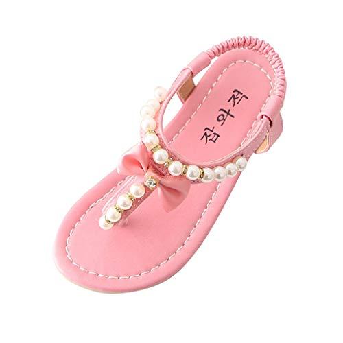Mädchen Süß Sandalen mit Bowknot Pearl/Dorical Baby Prinzessin Schuhe Pantoletten Flip Flop Zehentrenner Halbsandalen Soft Sole Single Strandschuhe Flache Badesandale Sommerschuhe(Rosa,34 EU)