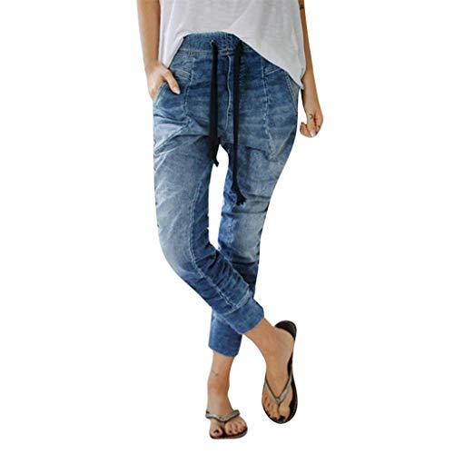 NPRADLA Frauen Lange Bleistifthose Sommer Elastisches Höschen Dünne Beiläufige Hipster Blaue Lose Jeans Lässige Frau Kordelzug Plus Verkürzte Jeans -