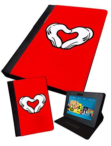 Fällen Herz Tablet (Mickey Hand Herzen | bedruckt Tablet Schutzhülle, klappbar Faux Kindle Fire HD 7