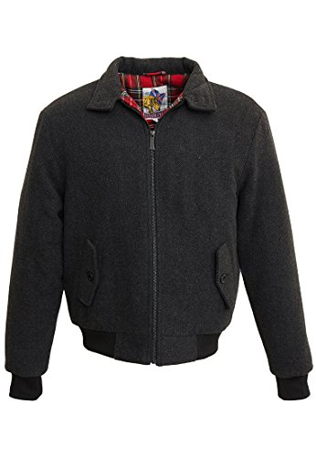 Harrington Melton, Impermeable Uomo, Gris (Chevron), Medium