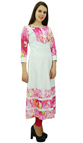 Phagun Femmes Kurta Casual Cotton Kurti Ethnique Floral Print Designer Dress Blanc et Rose