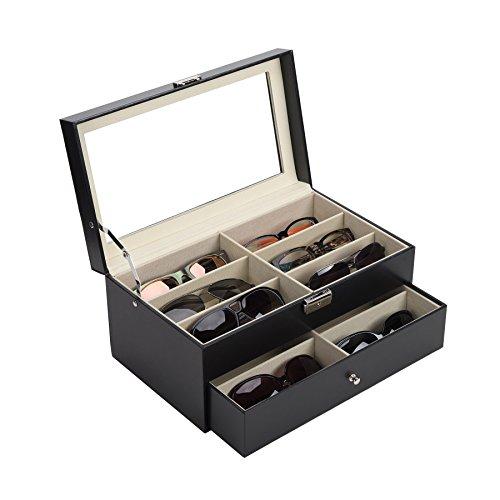 Gemeinsa Brillenbox Brillenaufbewahrung Sonnenbrillen Aufbewahrung brillenkoffer Etui Eyeglass Case mit Schaufenster aus Glas 12 Brillen Organizer PU Leder 33.5 x 19.5 x 15.5 cm