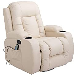 HOMCOM massage chair recliner armchair recliner TV armchair heat function with remote control reclining function and cupholders (cream)