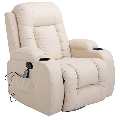 HOMCOM Massagesessel Fernsehsessel Relaxsessel TV Sessel Wärmefunktion mit Fernbedienung Liegefunktion und Getränkehaltern (creme) -