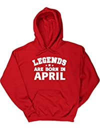HippoWarehouse Legends Are Born in April Birthday Jersey Sudadera con Capucha suéter Derportiva Unisex