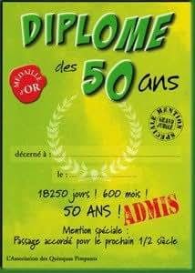 CARTE DOUBLE DIPLO.4 - DIPLOME DES 50 ANS