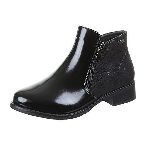 Damen Schuhe, 55004-PA, STIEFELETTEN Schwarz H393
