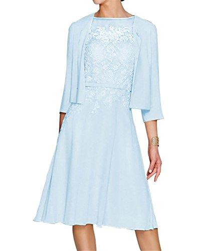 HWAN Damen A Line Applikationen Kurz Mutter der Braut Kleid mit Jacke Bolero Himmelblau (Junior Kleider Formale)