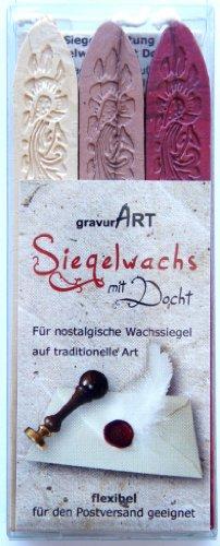 Siegelwachs flexibel mit Docht - 3 Stangen Mix: rot-met. - bronze - elfenbein-perl.