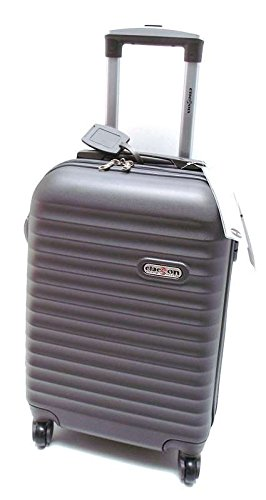 TROLLEY CLACSON IDONEO RYANAIR Cm.55x40x20 ABS RIGIDO 4 RUOTE Cm.55x36x20 Bagaglio a mano cabina idoneo low cost(ANTRACITE)