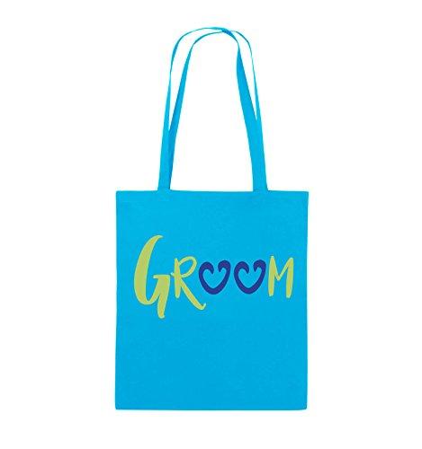 Comedy Bags - GROOM - HERZEN - Jutebeutel - lange Henkel - 38x42cm - Farbe: Schwarz / Weiss-Neongrün Hellblau / Hellgrün-Royalblau