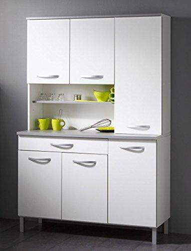 expendio Küchenschrank Seamus 22 120x181x44 cm weiß grau Schrank Buffetschrank Buffet Küche Küchenbuffet Anrichte -