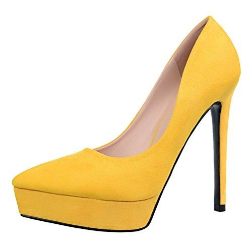 HooH Femmes Femme De Bureau Platform Stiletto Escarpins Jaune