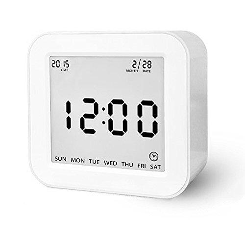 Digital Wecker, Schwerkraft-Sensor Wecker Multi Funktionen Wecker betrieben mit großen Bildschirm, Datum, Zeit, Kalender, Temperaturanzeige, Alarm, Countdown für Kinder, Jugendliche, Teenager Weiß
