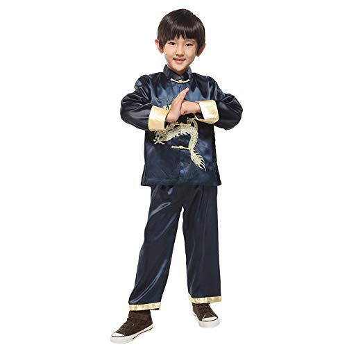Jungen Kostüm Karate - XFentech Jungen Tang Anzug - Kinder Tai Chi Kung Fu Kleidung Martial Arts Anzüge Performance Kostüm, Dunkelblau, Tag 8